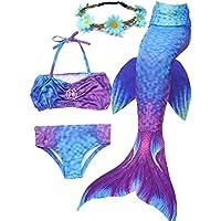 Camlinbo 3PCS Girls' Swimsuit Mermaid Tail for Swimming Tropical Bikini Masquerade Pool Party