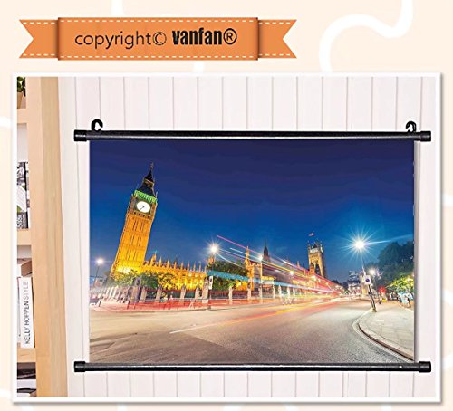 vanfan Wall Scroll Poster- Urban Night View of Big Ben and Westminster P Wall Art Waves Paiting on Canvas, Pictures Wall Hanging Canvas Scroll Paintings For Living - Delaware Westminster
