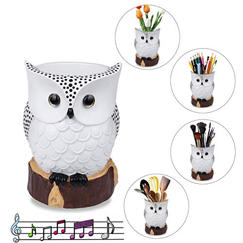 J JHOUSELIFESTYLE White Owl Multipurpose Holder,Cute Makeup Brush Holder Cup,Pen Pencil Holder,Kitchen Utensil Holder,Owl Vase,Perfect Owl Decorations for Home and Office