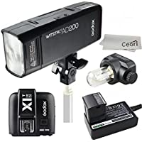 Godox AD200 200Ws 2.4G TTL Speedlite 1/8000s HSS 2900mAh Battery with X1N-T Wireless Transmitter for Nikon DSLR Camera with MicroFiber Cloth