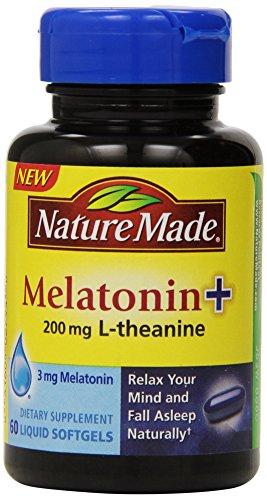 Mélatonine de fait de nature + avec 200 Mg de L-théanine, Count 60 (emballage peut-être varier)