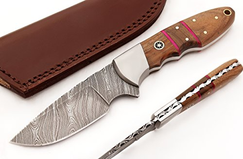 TR-2706 Custom made, Hand forged, new unique hunting/skiner knife with neutral leather sheath ...