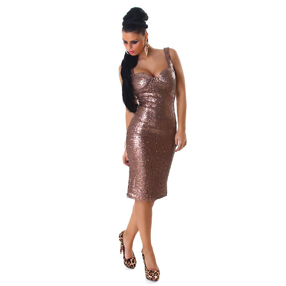 Blanco Store Vestito Elegante Donna Abito Longuette con Paillettes