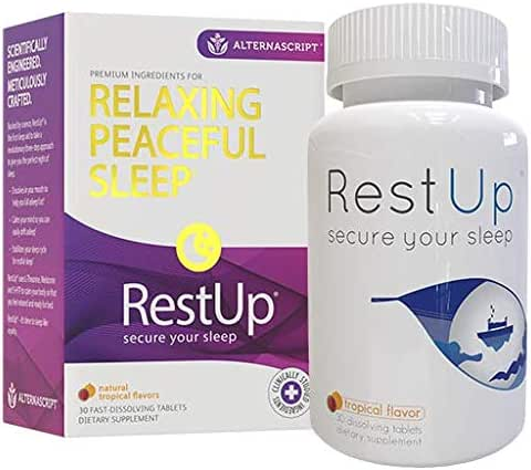 RestUp Fast-Acting Advanced Sleep Aid | 30 Quick Dissolve Tablets, Non-Habit Forming | Melatonin, Suntheanine L-Theanine, Magnesium, 5HTP | Calm the Mind | Wake Refreshed | Sleeping Pills for Adults