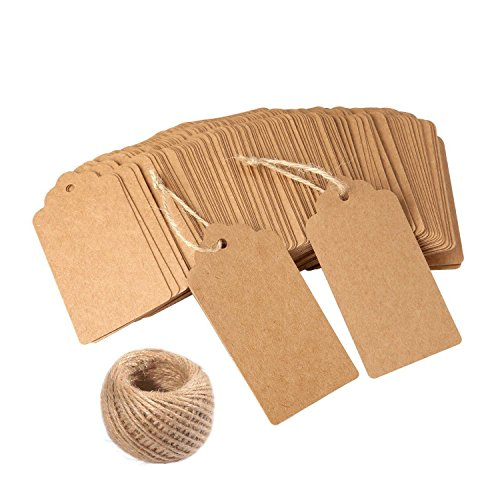 Gift Tags,120 PCS Kraft Paper tags for Wedding Brown Rectangle Craft Hang Tags with Free 100 Feet Natural Jute Twine (Hang Scrapbooking Tags)