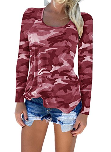 Shirts S Dames XXL Tops Blouse Camouflage Chemisier V Deep Chemises vider Femmes Shirt Manche norme Rouge1 Longue Sexy wnwIqUvZ