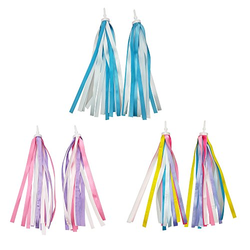 - SkyCooool 3 Pairs 6 Pcs Kids Bike Handlebar Streamers Colorful Ribbons Tassel for Girls Boys Scooter Handgrip