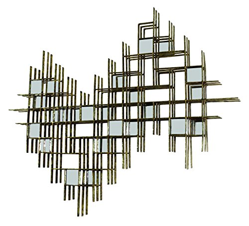 Italian Gold Iron Geometric Wall Decor with Mirror Accents