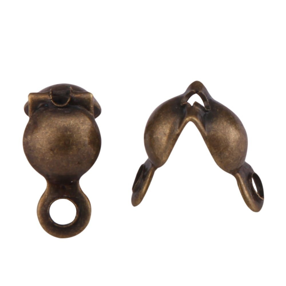 200pcs Top Quality Clamshell Calotte Endcaps Knot Cover 8mm Antique Bronze Plated Brass Bead Tips (4mm Cup) for Jewelry Craft Making CF49 by Adabele