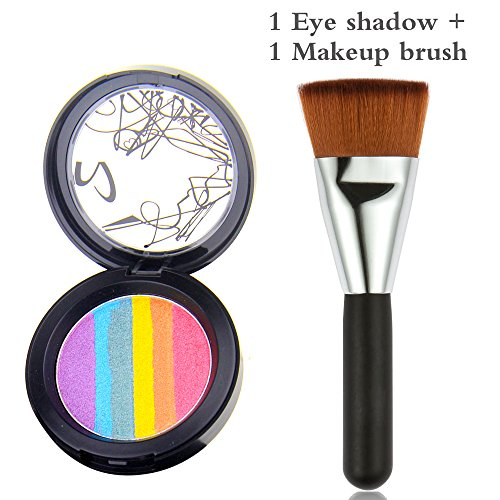 OR Pure Rainbow Cake Eyeshadow Blush Makeup Rainbow Highlighter Makeup Palette Cosmetic Blusher Shimmer Powder Contour Eyeshadow with a Matching Makeup Brush Rainbow (Highlighter Rainbow)