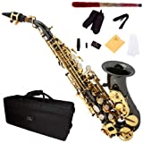 Cecilio Black Nickel Plated Curved Bb Soprano Saxophone with Gold Keys - SS-300BNG