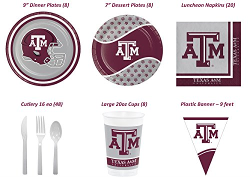 Official Texas A&M University Aggies Tailgate/Celebration Bundle (Serves 8): Dinner & Dessert/Snack Plates, Lunch Napkins, Banner, Plastic Cups and Cutlery 87 pcs