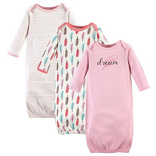 Touched by Nature Baby Organic Cotton Gowns, Feathers 3-Pack, 0-6 Months