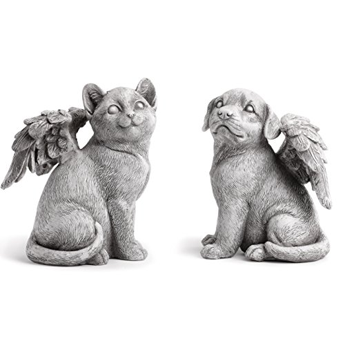 Napco Winged Dog, Cat Angels Concrete Look 6 x 8.25 Resin Garden Figurines, Set of 2