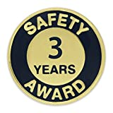 PinMart's Gold and Navy 3 Year Safety Award Enamel Lapel Pin