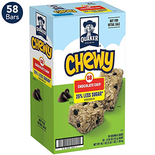 - Quaker Chewy 25% Less Sugar Granola Bars, Chocolate Chip (58 Bars)