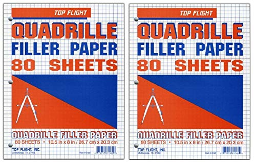 Top Flight Filler Paper, Quadrille Rule, 10.5 x 8 Inches, 80 Sheets (81060) (2-(Pack of 80 Sheets))
