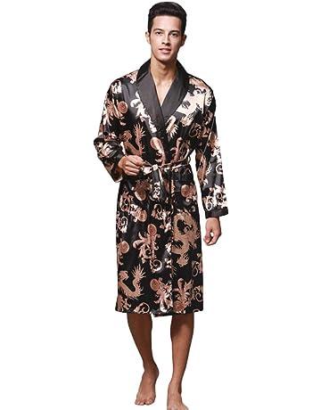 WanYangg Albornoz Kimonos Pijama para Hombre Largo Camisón Robe Bata Ropa De Dormir Satín Bata De