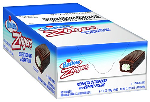 Hostess Zingers, Devil's Food, 3 Cakes (Pack of 6)