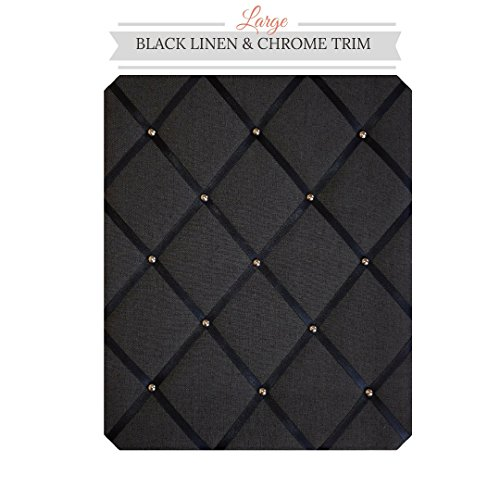 Large Size Black Linen Memo Board with Chrome - Covered Fabric Board Memo