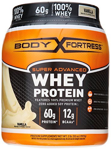 Body Fortress Super Advanced Whey Protein Powder, Vanilla, 2 Pound