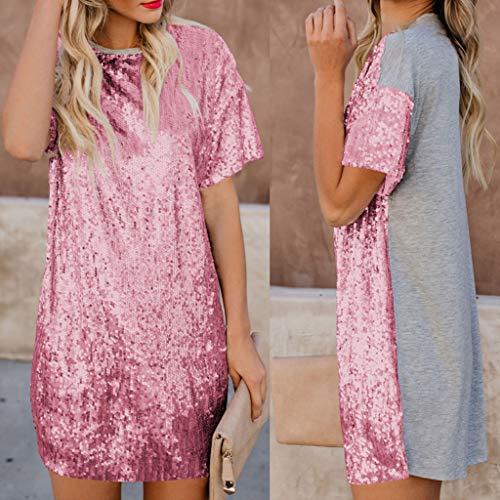 mini manica casual Abito paillettes rosa moda girocollo splicing donna donna estiva tinta unita corta oliviavan allentato confortevole WrIIYTqZ