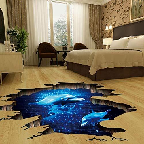 SMYTShop 3D Dolphin in The Ocean Floor/Wall Sticker Removable Mural Decals Vinyl Art Living Room Decors 23.6 x 35.4 (2 Colors:Dolphin in The Ocean)
