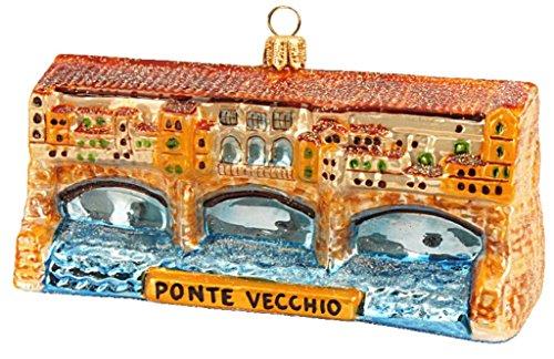 Vecchio Ponte Florence - Ponte Vecchio Old Bridge Florence Italy Landmark Polish Glass Christmas Ornament Travel Souvenir
