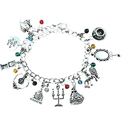 J&C Family Owned Beauty and The Beast 10 Charms Lobster Clasp Bracelet in Gift Box (Beast Jewelry)