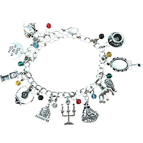 J&C Family Owned Beauty and The Beast 10 Charms Lobster Clasp Bracelet in Gift Box