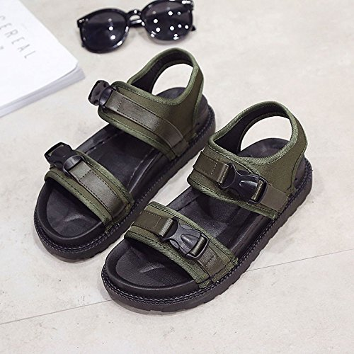 Black Comfort Birthday Canvas Sandals Shoes Round Low ZHZNVX Summer for Green Women's Toe Green Heel Uqg7BywT