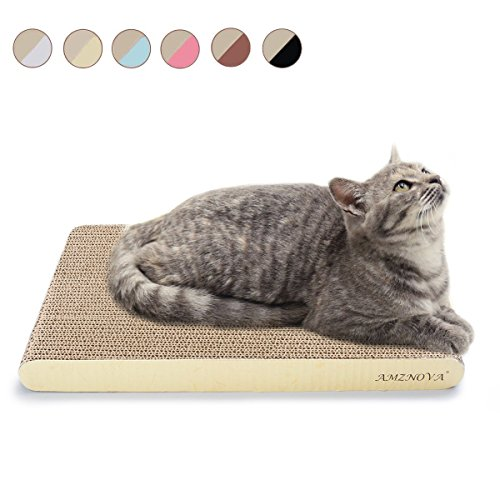 AMZNOVA Durable Cat Scratcher Cardboard, Colors Series, Wide, Light Lemon