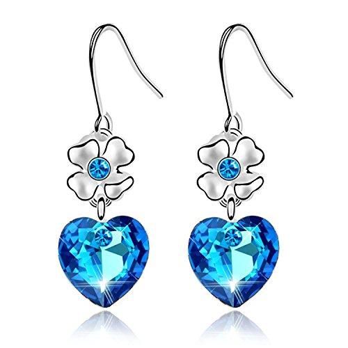 Swarovski Zirconia Flower - Love Heart Ocean Blue Crystal Dangle Earrings 18K Gold Plated Women Drop Earrings with Birthstone Crystal (Blue rose flower earrings)