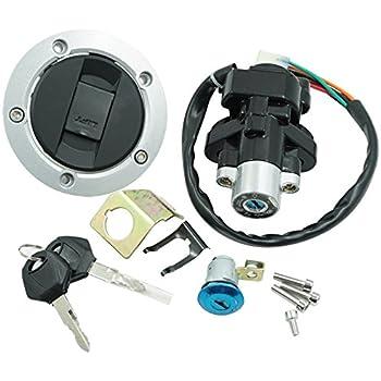 motorcycle ignition switch + tank gas cap cover + seat lock + 2 locking  keys assembly set kit for suzuki gsxr 600 750 gsxr600 gsxr750 2004-2005  sv1000s