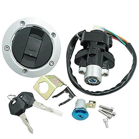 Motorcycle Ignition Switch + Tank Gas Cap Cover + Seat Lock + 2 Locking  Keys Assembly Set Kit For Suzuki GSXR 600 750 GSXR600 GSXR750 2004-2005