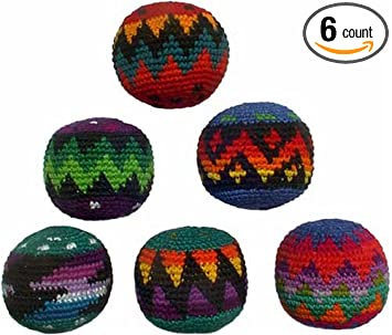 set of 6 hacky sacks multicolor design