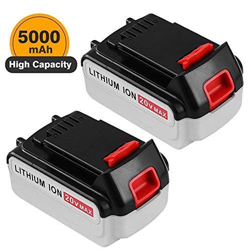 5.0Ah Lithium Ion Replace for Black and Decker 20V MAX Battery LBXR20 LB20 LBX20 LBXR2020-OPE LBXR20B-2 LB2X4020 2 Packs