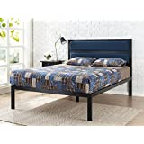 Zinus 16 Inch Platform Bed/Metal Bed Frame/Mattress Foundation with Tufted Navy Panel Headboard/No Box Spring Needed/Wood Slat Support, Queen