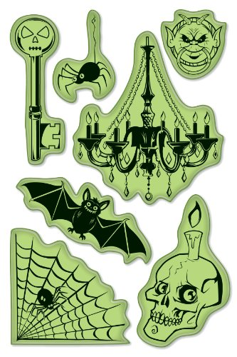 Inkadinkado Spooky Halloween Cling Stamp Set for Arts and Crafts, 7pc -