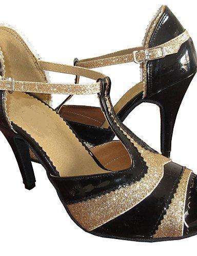 ShangYi Maßgefertigter Absatz - Kunstleder/Glitter - Latin/Salsa - Damen black and gold
