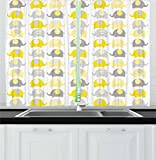 Ambesonne Nursery Kitchen Curtains, Yellow and Grey Cute Elephant Collection Cartoon Animals with Different Patterns, Window Drapes 2 Panel Set for Kitchen Cafe, 55 W X 39 L Inches, Yellow Grey Review