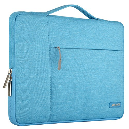 MOSISO Laptop Briefcase Handbag Compatible 13-13.3 Inch MacBook Air, MacBook Pro, Notebook Computer, Polyester Multifunctional Carrying Sleeve Case Cover Bag, Sky Blue