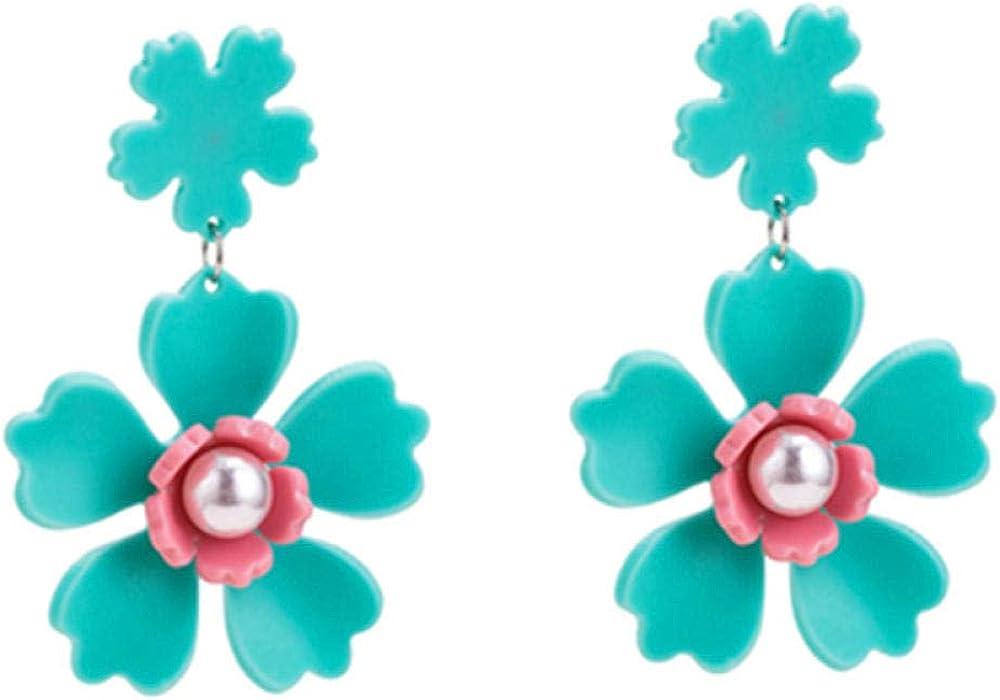 Nuevos pendientes de flores lindas y hermosas pendientes de perlas de acrílico salvaje crudo Kdw