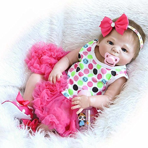 TERABITHIA 23 inch Alive Silicone Vinyl Full Body Reborn Baby Girl Dolls with Red Bow Headbands