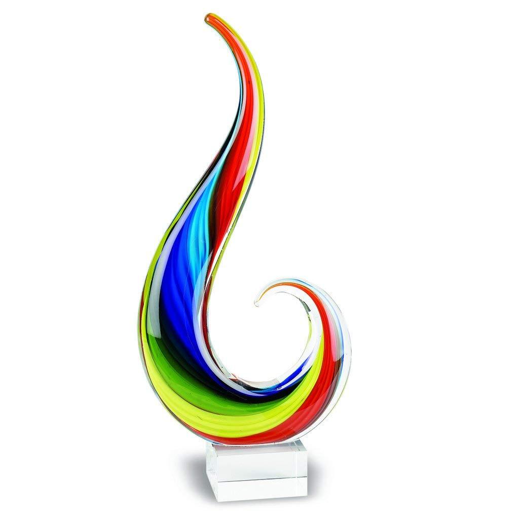 Badash Crystal - Rainbow Note Murano Style 16 Inch Centerpiece