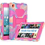 KIDSPR Fire HD 8 Case 2016, Silicone [Protective] Shockproof Kids proof Impact Resistant Outdoor Gift Cases Covers with Stand for 2016 Release Amazon Fire 8 Inch Tablet (2016 Only)(Camo Pink)