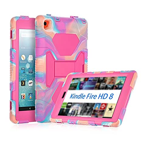 Fire HD 8 Case, KIDSPR 3 in 1 Hybrid Durable [Kids Proof] [Shockproof][Drop Resistance] Full Body Protective Stand Cover with Tempered Screen Protector for Fire HD 8 (2016 6th Generation),Camo (Kindle 6 Cases For Kids)