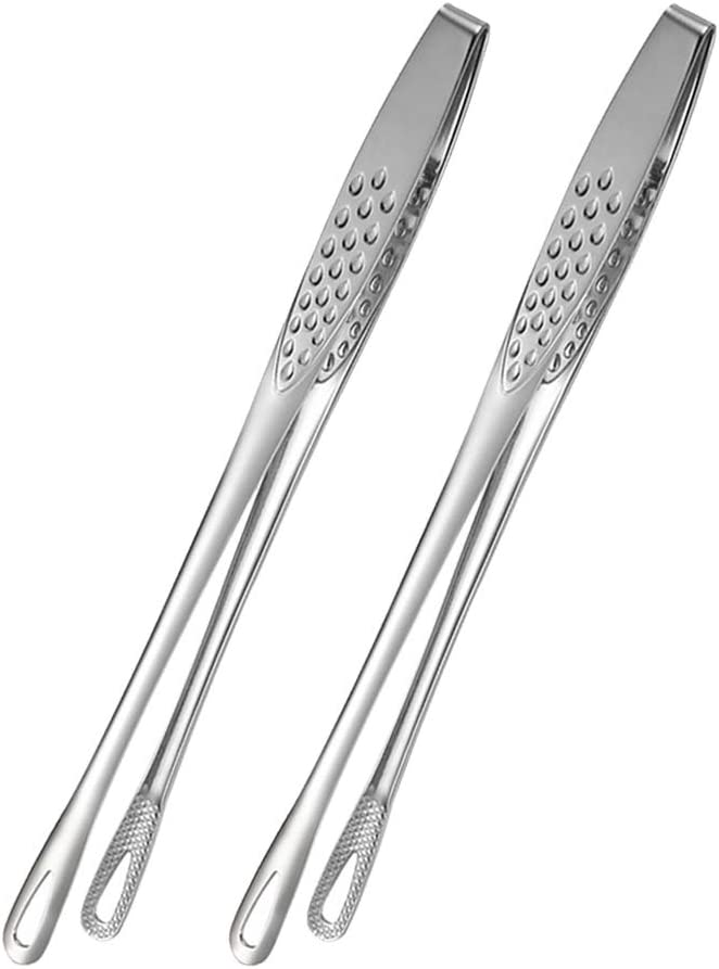 BHJD Food Tweezers Stainless Steel Food Tongs Japanese Style Barbecue Clamp Kitchen Serving Tong for Fried Fish Steak 2Pcs