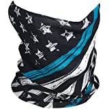 Outdoor Face Mask - Perfect for Motorcycle Riding, Skiing, Snowboarding, Fishing - Work as Sun Shield, Dust Mask, Neck Gaiter, Balaclava, Bandana - Breathable Seamless Microfiber (Blue Line)