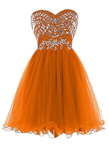 Tulle Vestito Da Fidanzata A Casa Breve Chupeng Paillettes Ritorno Vestito Di Cristallo Di Arancione Promenade Di Partito Xdqp7w